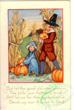 thanksgiving_day_postcards-00173 - 173-Boy, girl, pumpkin, corn, But let good old cropadorn the hills our fathers trod... [2011x3000]