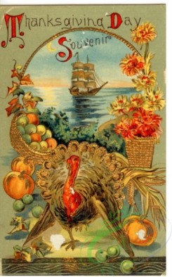 thanksgiving_day_postcards-00192 - 192-Turkey, Vegetables, basket, ship, frame [1867x3000]