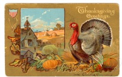thanksgiving_day_postcards-00237 - 237-Turkey, pumpkin, oak leaves [3000x1909]