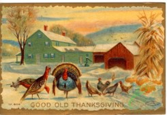 thanksgiving_day_postcards-00364 - 364-Turkey, chickens, houses, Good old Thanksgiving [3000x2069]