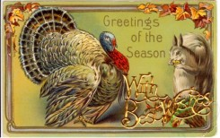 thanksgiving_day_postcards-00423 - 423-Turkey, Squirrel, Greetings of the season [3000x1885]