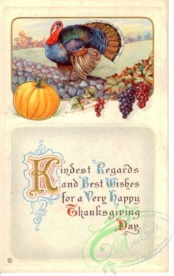 thanksgiving_day_postcards-00451 - 451-Turkey, Pumpkin, grapes, Kingest regards and best wishes for a very happy... [1891x3000]