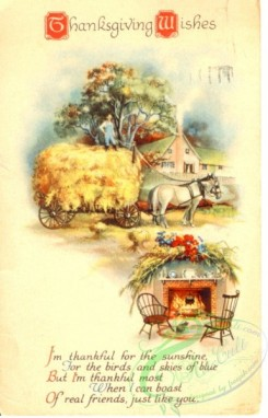 thanksgiving_day_postcards-00485 - 485-Horse, cart, fireplace, I'm thankful for the sunshine... [1926x3000]