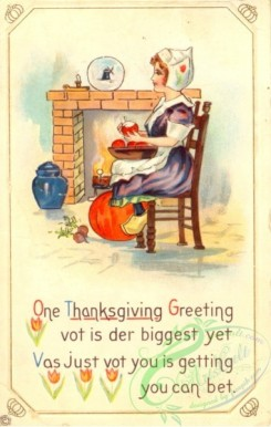 thanksgiving_day_postcards-00486 - 486-Woman near fireplace, One Thanksgiving greeting vot is der biggest yet... [1906x3000]