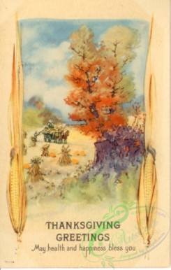 thanksgiving_day_postcards-00488 - 488-Corn, tree, Pumpkin, May health and happiness bless you [1906x3000]