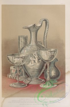 things-00214 - 082-A group of objects in glass-cut and engraved, Consisting of an engraved claret, and cut cream jug by Green of London-a Venetian champagne and an e