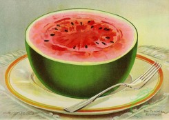 watermelon-00134 - 017-Watermelon, half, on plate, breakfast, fork, succulent